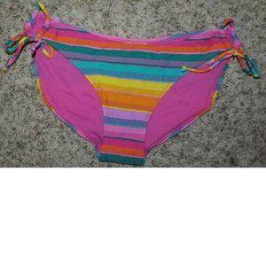 Jr. Girls In Mocean Pink Striped Bikini Bottom- XL